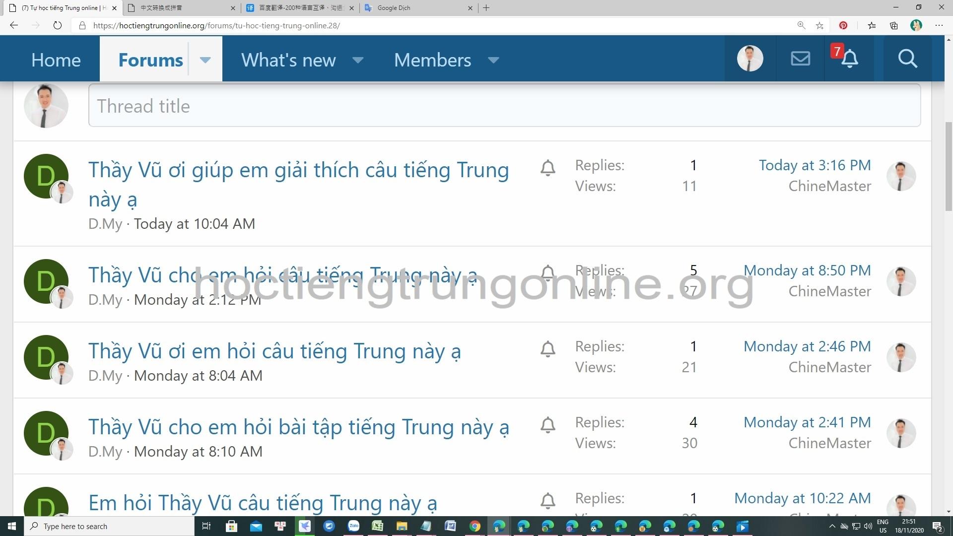 Diễn đàn học tiếng Trung HSK ChineMaster liên tục giải đáp rất nhiều câu hỏi của thành viên