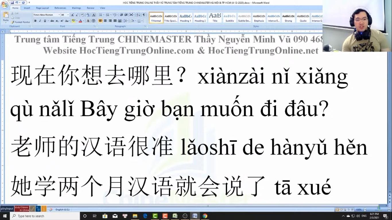 Trung tâm tiếng Trung Quận 10 thi thử HSK online bài 10