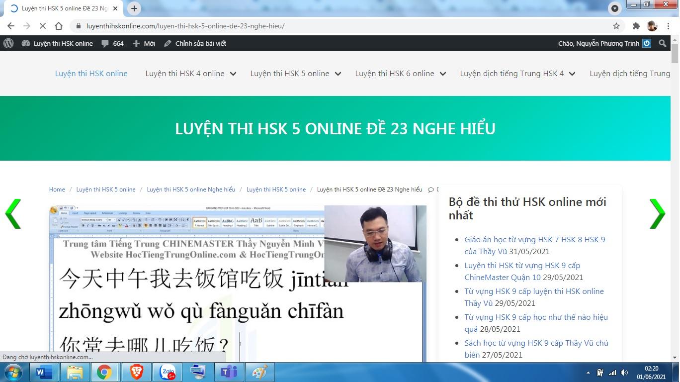 Luyện dịch HSK 7 online theo giáo án Thầy Vũ